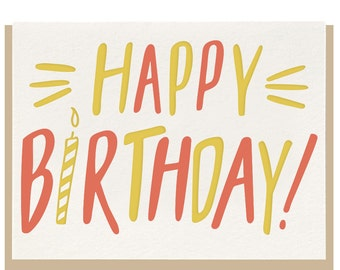 Letterpress 'Happy Birthday' Card