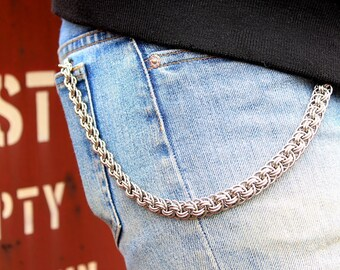Silver Wallet Chain / Stainless Steel Echo Wallet Chain / Unique Wallet Chains / Wallet Leash / Flat Metal Wallet Chains / Chain Wallet