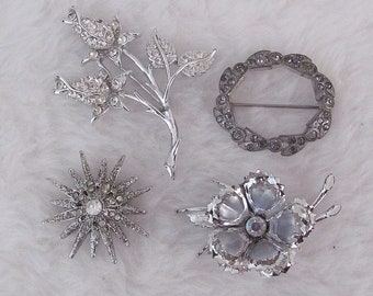 Vintage, lot, rhinestone, brooch, pin, flower spray, circle, starburst, flower, silvertone, pave, tiered, dimensional