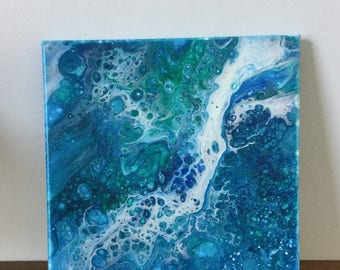 Original Acrylic Abstract, Blue Painting, Ocean Art, Fluid Painting,Fluid Art, Ocean Abstract