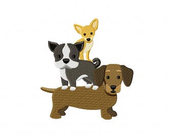 Dog stack chihuahua, bulldog, dachshund embroidery design