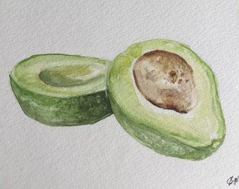 Watercolor Avocado-Food Art-Avocado Painting