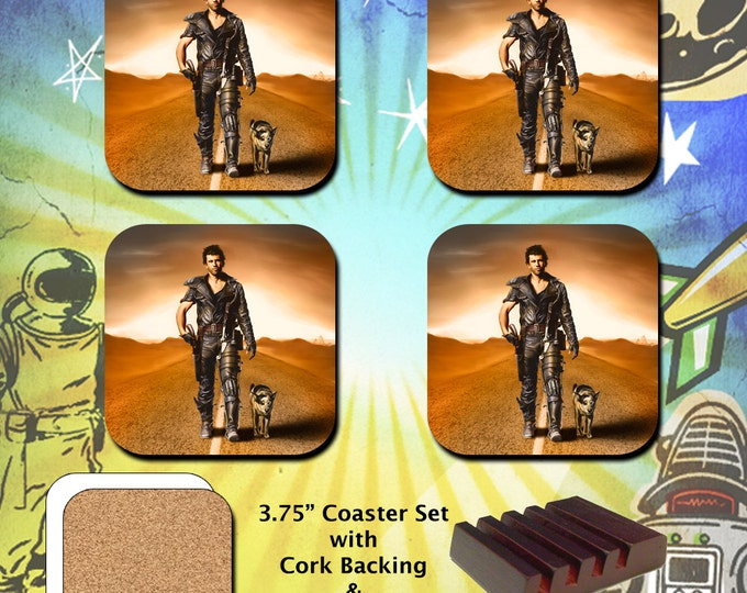 "The Road Warrior / Mad Max 2 / Mel Gibson as Mad Max with ""Dog"" / Coaster Set"