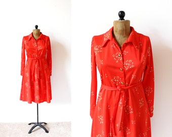 vintage dress 70's red mod geometric print long sleeve disco 1970's women's clothing size medium m