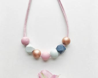 THE CAMILLE petite modern girls necklace, kids necklace, petite handpainted wooden bead necklace on fabric string