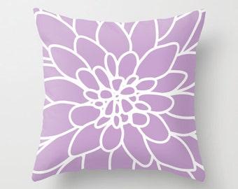 Dahlia Pillow Cover - Lavender - Modern Flower - Home Decor - includes insert