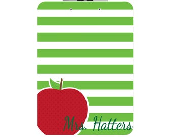 Personalized Teacher Clipboard - Red Apple