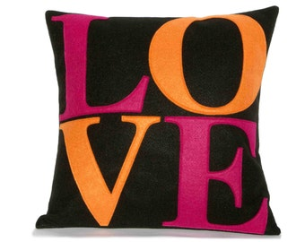 Mod LOVE Pillow Cover Appliquéd in Fuchsia and Orange on Black Echo-Felt 18 inches