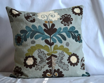 SIngle, 22 by 22inch Throw Pillow Cover, Chocolate and Teal Floral