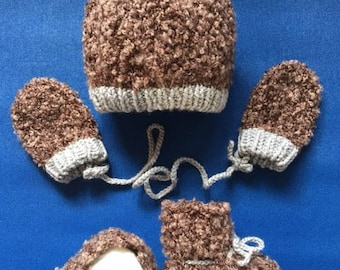 Adjustable  Beanie with Matching Mittens and Booties for Kids