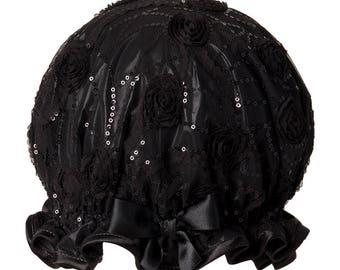 Black Magic Luxury Organza Shower Cap