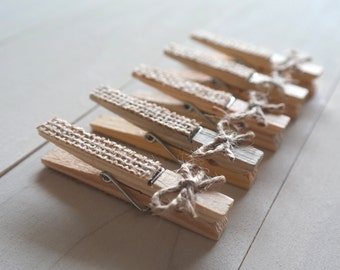Rustic Burlap Wood Clothespins, Shabby Chic Clothespins, Burlap and Jute Clips, Decorated Clothespins, Wooden Card Holders - SET of 5