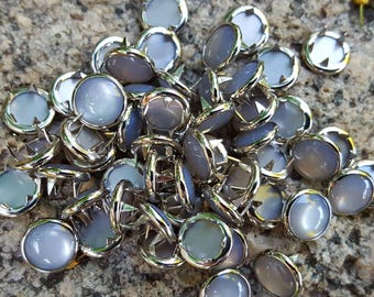 Grey Snaps, Grey Pearl Snap Fasteners, 12 mm Pearl Snaps, Western Snaps