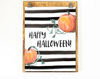 Happy Halloween Printable Wall Art Pumpkin Print Halloween Print Watercolor Pumpkins Print Halloween Decor Halloween Orange & Black Stripes