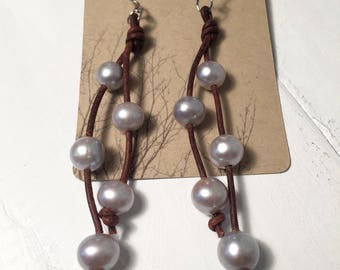 Gray Freshwater Cultured Pearl Earrings with Sterling Silver