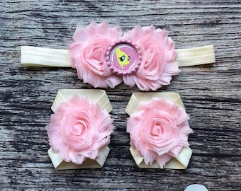 Fluttershy Headband and Barefoot Sandals - My Little Pony - Baby Girl Headband - Baby Barefoot Sandals - Headbands for Babies - Birthday Bow
