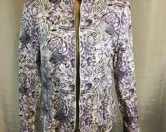 Vintage Shades of Purple and White Flowered Jacket with Silver and Purple Bead Trim By Peck & Peck Size 16 Previously 29 Dollars ON SALE