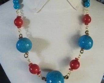 Statement Necklace with large vintage glass and ceramic beads