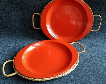 Orange enameled metal plates with wicker holders, picnic plates, camping plates, BBQ plates, mid-century modern plates, MCM, vintage plates