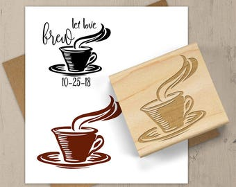 Coffee Wedding Stamp, Coffee Cup Stamp, Coffee Favor Stamp, Hot Tea Stamp, Coffee Mug Rubber Stamp, Hot Chocolate, Drink Stamp, 124