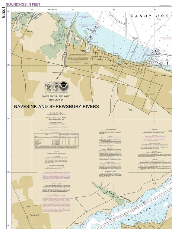 Navesink and Shrewsbury Rivers 2014 Nautical Map New