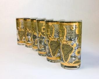 Cera glasses etsy set of six 6 cera old world map highball glasses 22k gold gumiabroncs Gallery