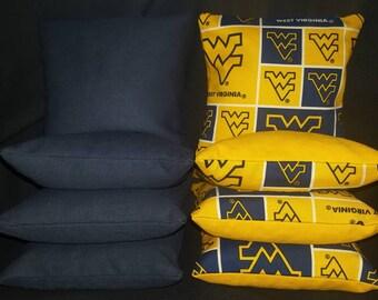 Set Of 8 West Virginia University Cornhole Bean Bags Top Quality FREE SHIPPING