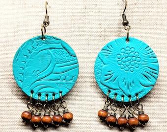Leather Earrings / Turquoise Earrings  / Round Blue  Earrings / Boho Earrings / Boho Style / Dangle Earrings / Bronze Tone Earrings