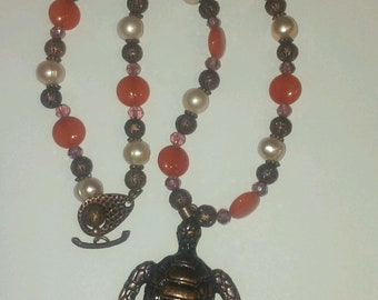 Copper Turtle Pendant Necklace with Carnelian Gemstones and Freshwater Pearls 20 Inches