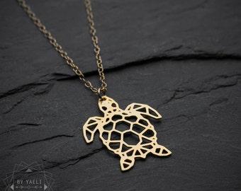 Collier tortue, collier origami, tortue de mer, cadeau d'anniversaire 21, collier, collier géométrique, collier minimaliste, tortue