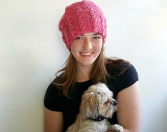 Bubble Gum Pink Hat with Cables. Handknit in Alpaca and Wool. Ladies. Girls.