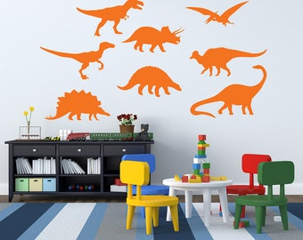 Dinosaurs Wall Decal - Boys Room Wall Decal - Kids Wall Decal - Dinosaur Theme Set