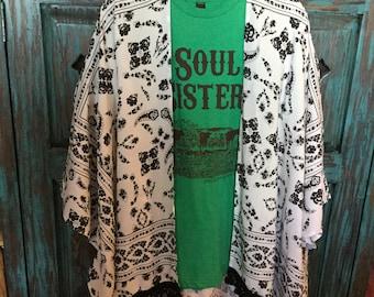 Black and white fringed kimona