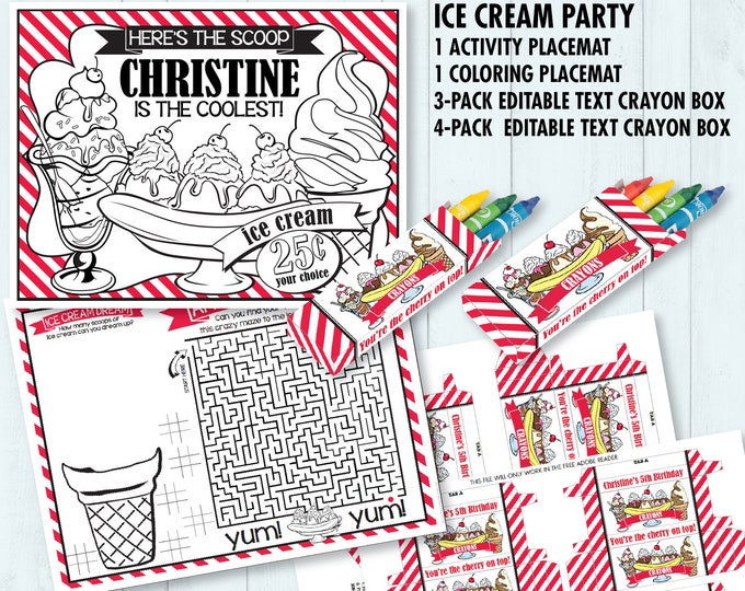 Ice Cream Party Placemat & Crayon Box - Ice Cream Birthday, Activity Page, Game Placemat, Ice Lolly   DIY Printable Kit INSTANT Download PDF
