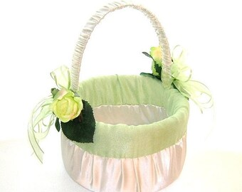 On Sale Flower Girl Basket in Ivory Satin With Celedon Dupioni Silk Trim