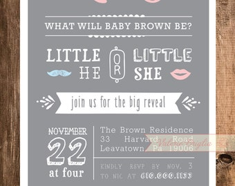 Little He or Little She gender reveal Invitation, printable file