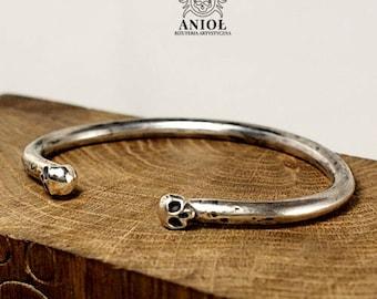SKULL  - Rocker Jewelry, 100% Sterling Silver Bracelet  -  Men Jewelry