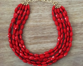 Red Bead Necklace - Chunky Beaded Statement Necklace MultiStrand Red