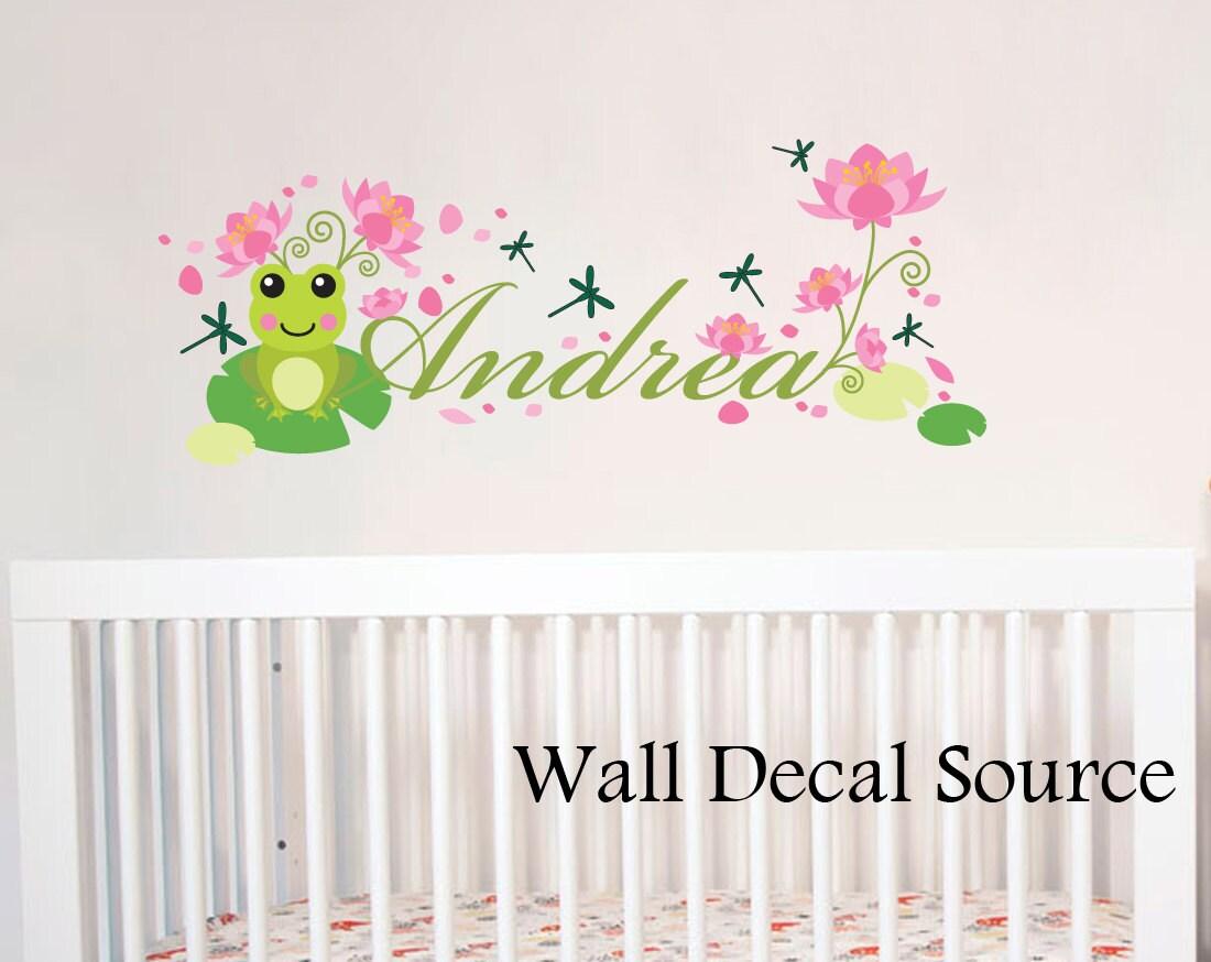 Nursery Wall Decal Frog Wall Decal Monogram Wall Decal - Monogram wall decal for nursery