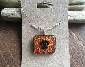 Paw print dichroic glass necklace-fused glass jewelry-paw print-paw print necklace-gift for her