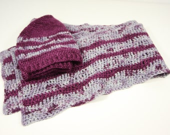 Crochet hat and scarf pattern - Melusine - sea themed - wave - winter accessory