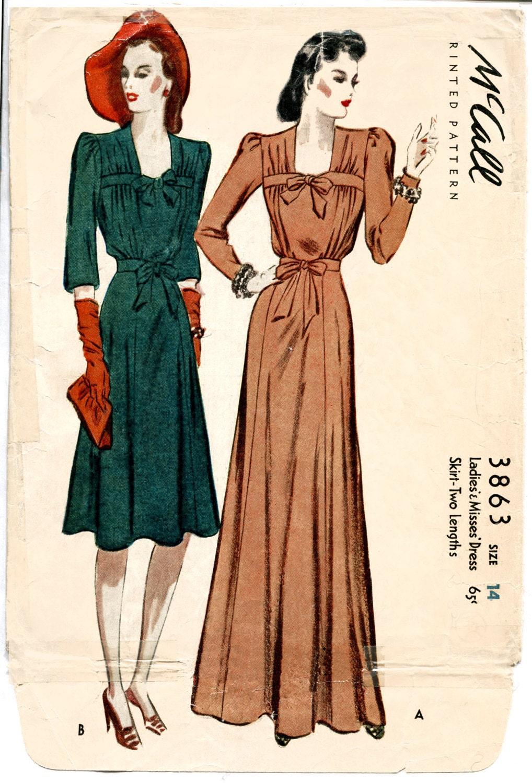 1940er Jahre 40er Jahre Vintage Nähen Muster Abendkleid