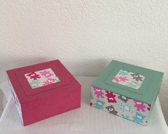 For cartonnage boy and girl twin birthday gift, square boxes Teddy and leatherette fabric.