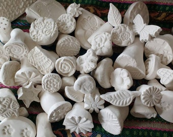 Clay Stamps for Pottery Handmade Bisque Patterned Stamps for Clay Fimo Polymer PMC Fondant Play doh -Made in UK - 10 assorted stamps c1