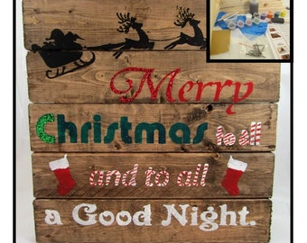 DIY Christmas - Christmas Craft - Christmas Craft Project - DIY Board Sign Craft Kit - Make Your Own Wood Sign Decoration - Merry Christmas