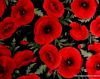 One Yard Cut Quilt Fabric, Large Bright Red Poppies and Buds by CHONG-A HWANG for Timeless Treasures, Sewing, Quilting, Crafting Supplies