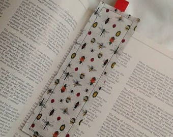 Bugs Bookmark / Fabric Bookmark / Dragonfly / Ladybug / Bookmark