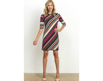 Striped Sheath Dress With 3/4 Sleeves
