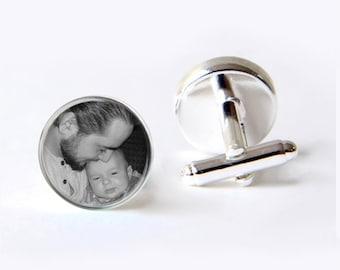 Father Of The Bride Cufflinks, Custom Photo Cufflinks, Personalized Cufflinks, Keepsake For Dad
