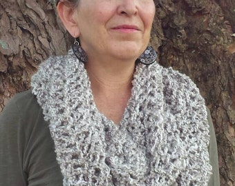 Silver Knit Infinity Scarf - Silver Knit Circle Scarf - Infinity Scarf - Silver Knit Scarf
